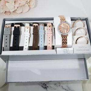 Accessories - NIB Watch Wardrobe Set Rose Gold 6 Bands 4 Faces